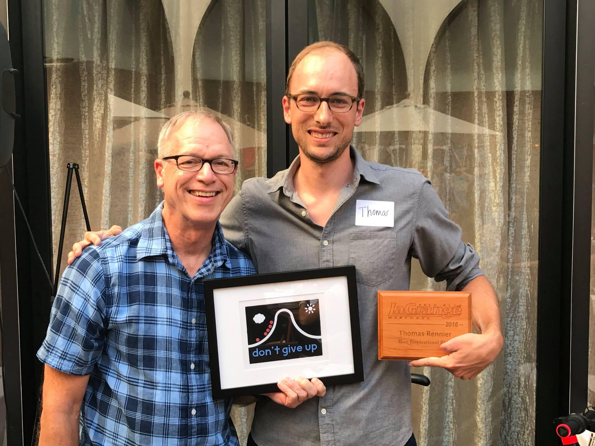 Dan Chapman with Most Inspirational Rider award winner Thomas Rennier.