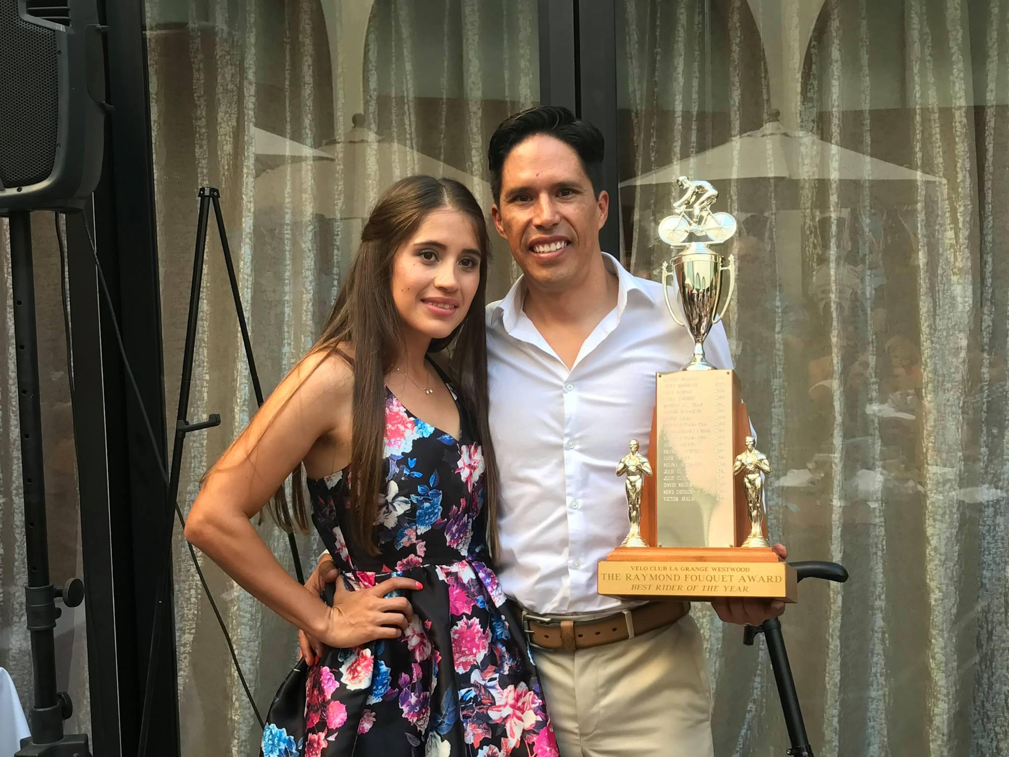 Stu Press Most Improved Racer award winner Lizbeth Urmas with Raymond Fouquet Trophy winner Victor Ayala.