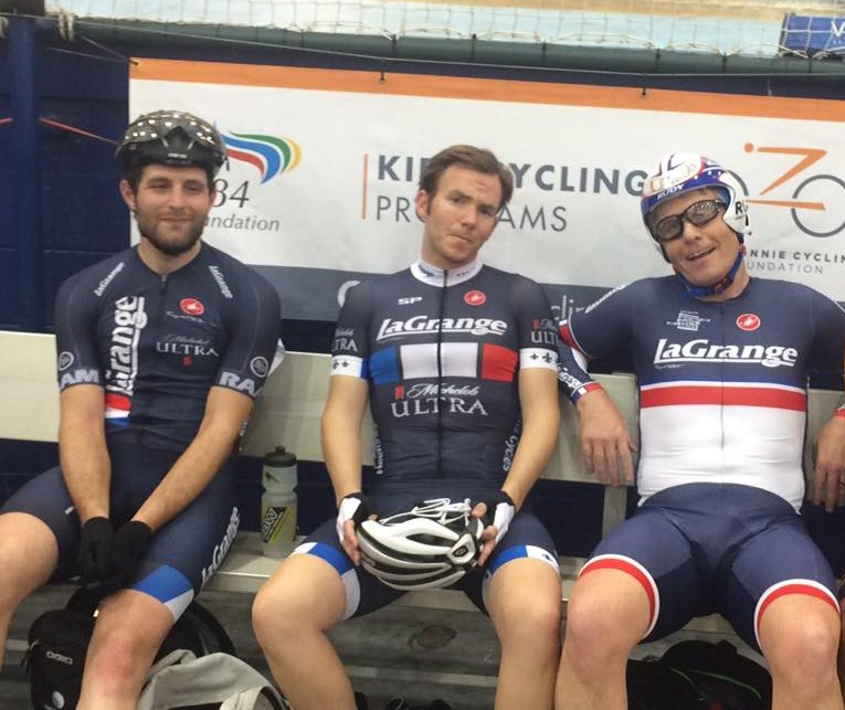 Jackson Brock, Will Hughes and Stuart Brogan sporting three generations of La Grange kit at LAVRA Friday Night Racing at the velodrome in Carson.