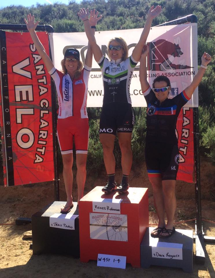 Tracy Paaso with a 2nd place finish in the 45+ Castaic Lake Road Race.