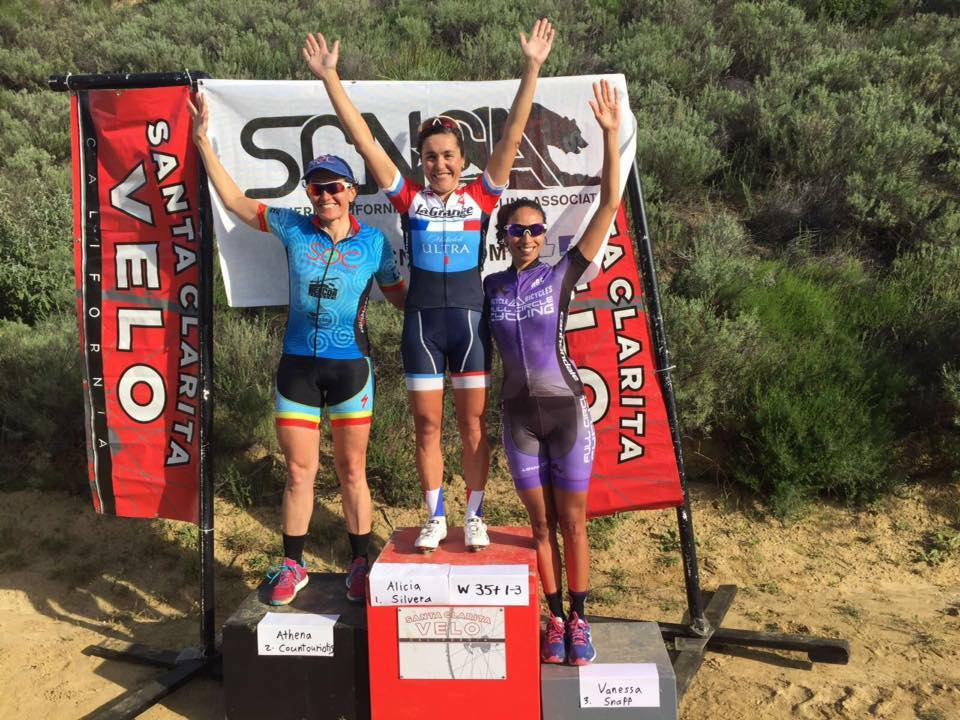 Alicia Silvera wins the State Champion Bear Jersey in the 35+ Castaic Lake Road Race.