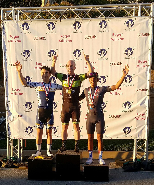 Maykol Hernandez on the podium in the Cat 4 Roger Millikan Memorial Criterium!