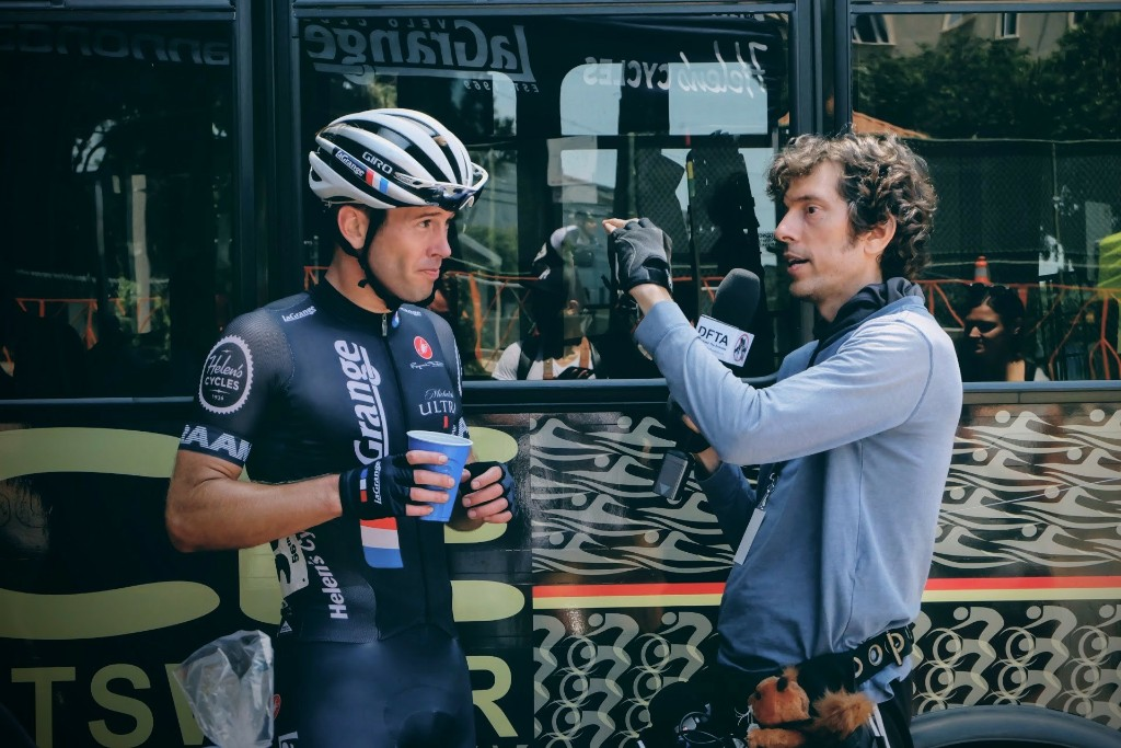 Mens Cat 3/4/5 Captain Patrick Barrett being interviewed after the race. The rumors that the interviewer is in line as the next White House Communications Director are likely inaccurate. As far as you know.