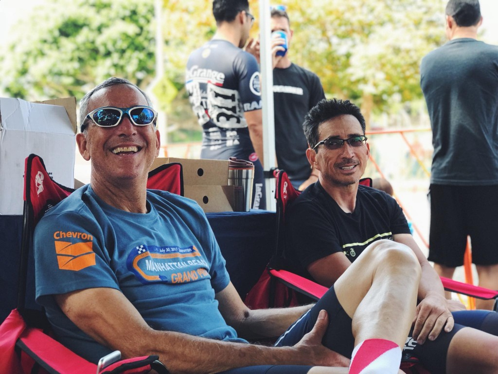 They came, they saw, they raced hard. Dan Funk and Glenn Savarese resting the legs at Camp LG.