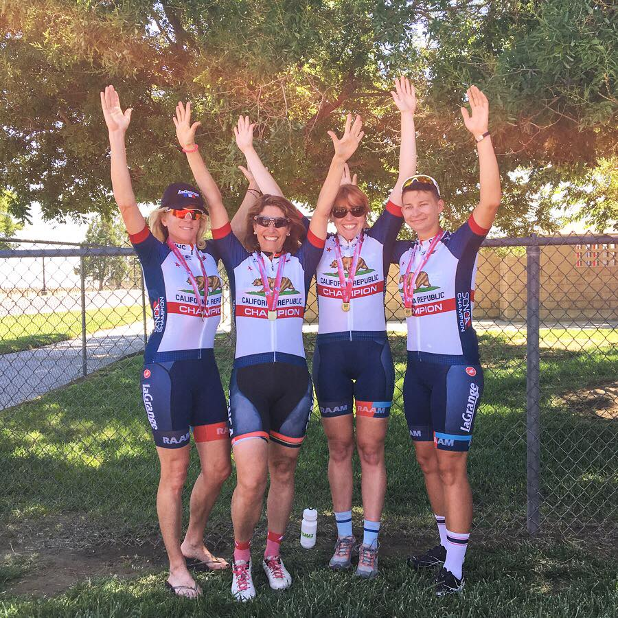 Tracy Paaso, Trish Bakst, Renee Engelhardt and Tina Grant teamed up to with the 4-Woman 140+ division