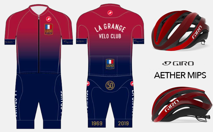 The Giro Aether MIPS helmet comes in red with a gradient that nicely matches the 50th Anniversary Kit. These are available to club members at an incredible price. Please ask Adam at Helen's Cycles to order one for you.