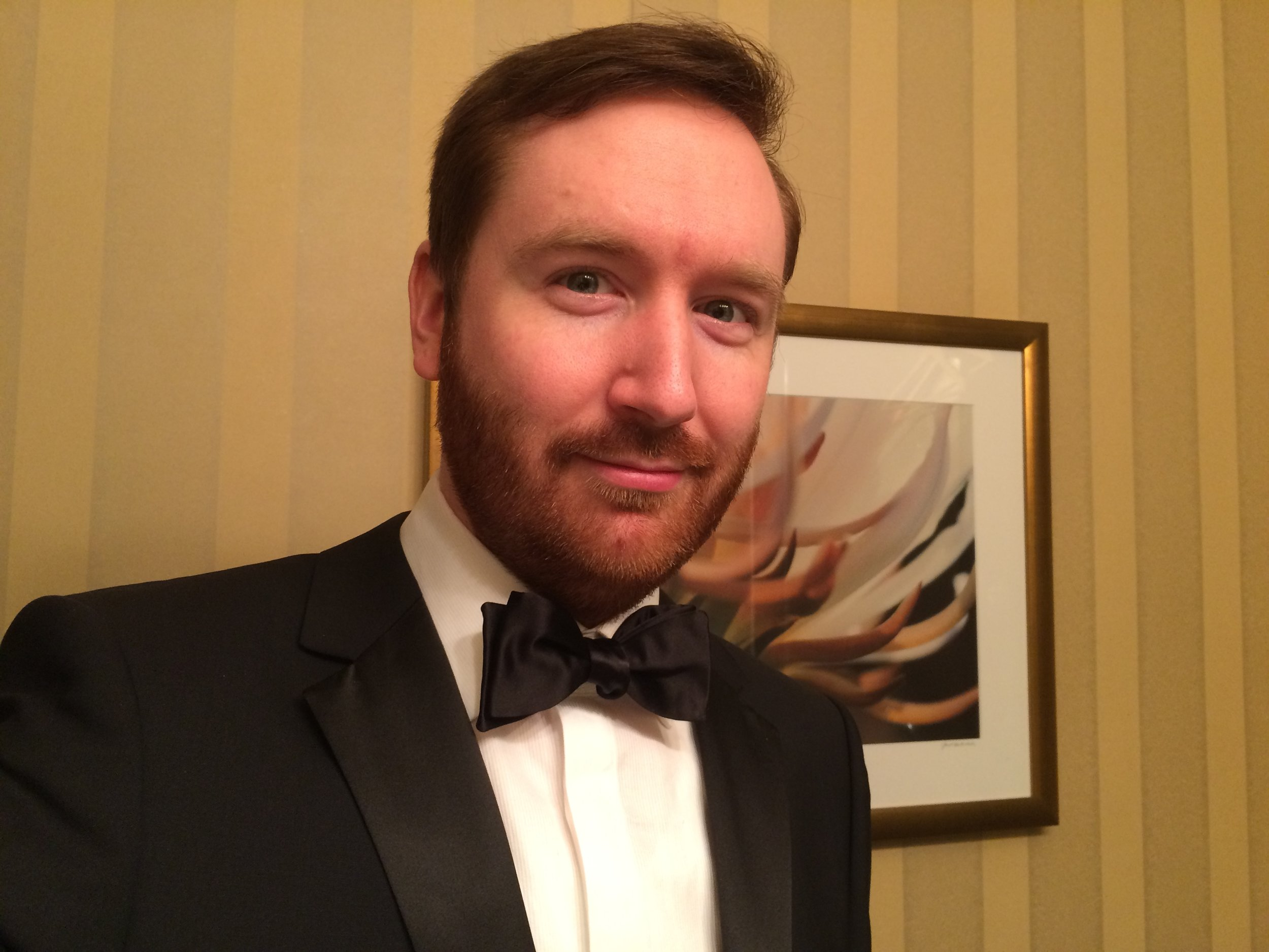 This is what I look like in a tuxedo. With a small camera, I'm allowed to walk onto the red carpet at the White House Correspondents' Dinner.