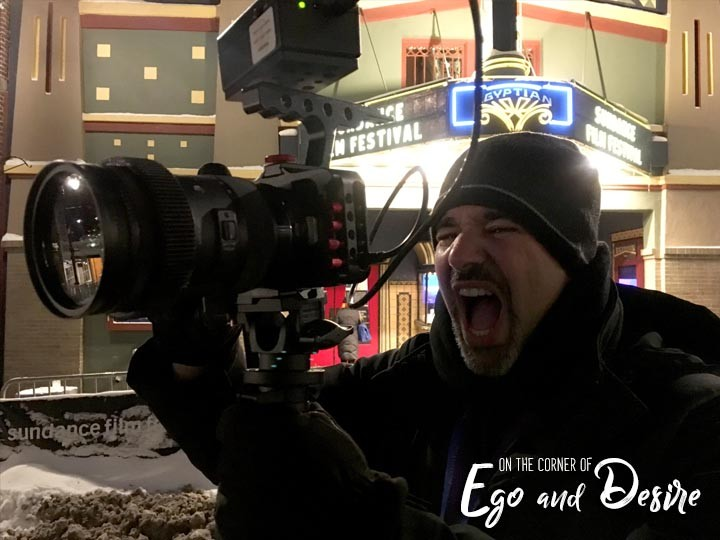 From his Instagram @ifilmhustle , Alex Ferrari holding the Blackmagic Pocket Cinema Camera he shot his film  On the Corner of Ego And Desire  with.