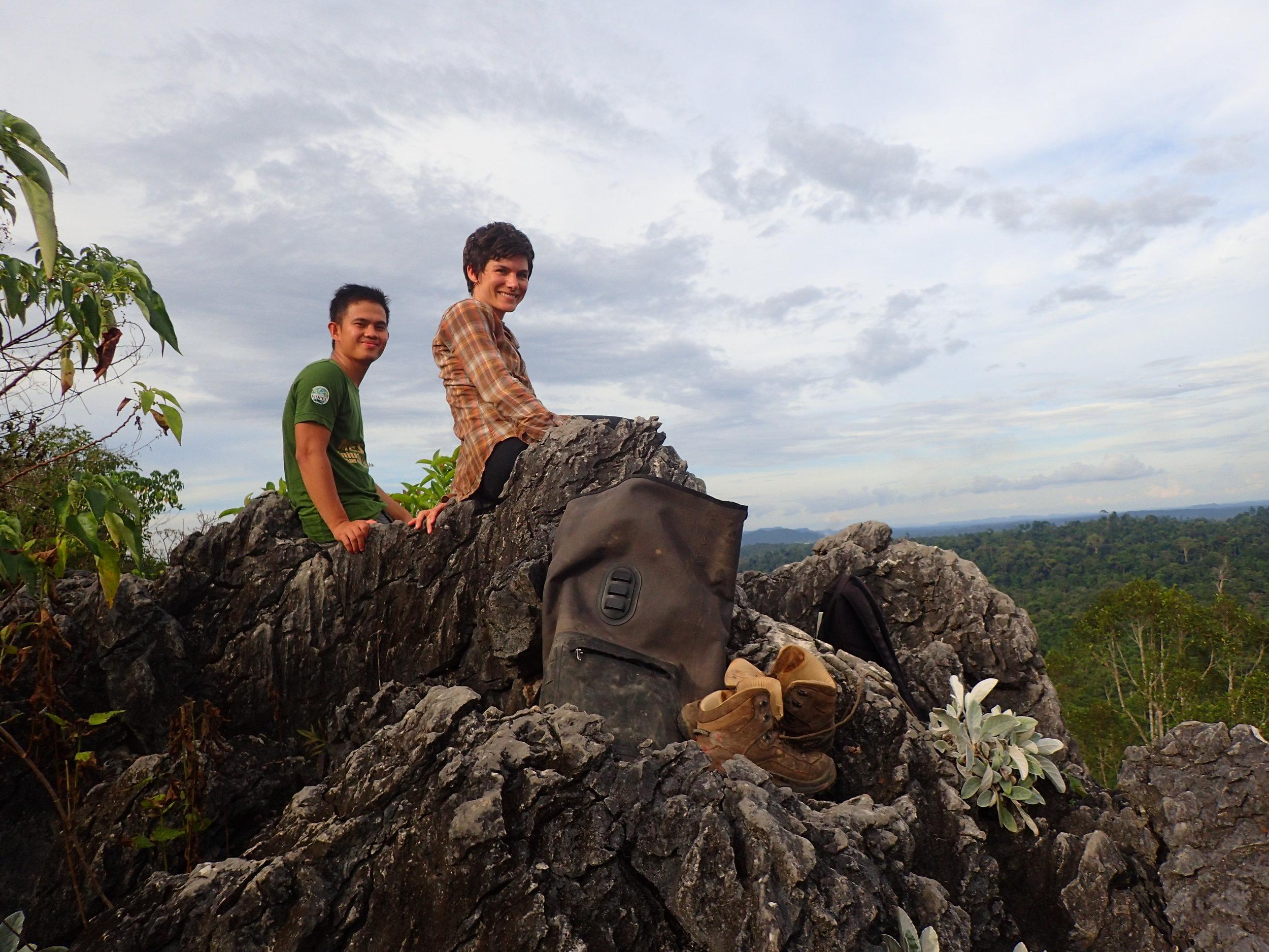 Faijan and I on top of a limestone outcrop near Supu Cave.