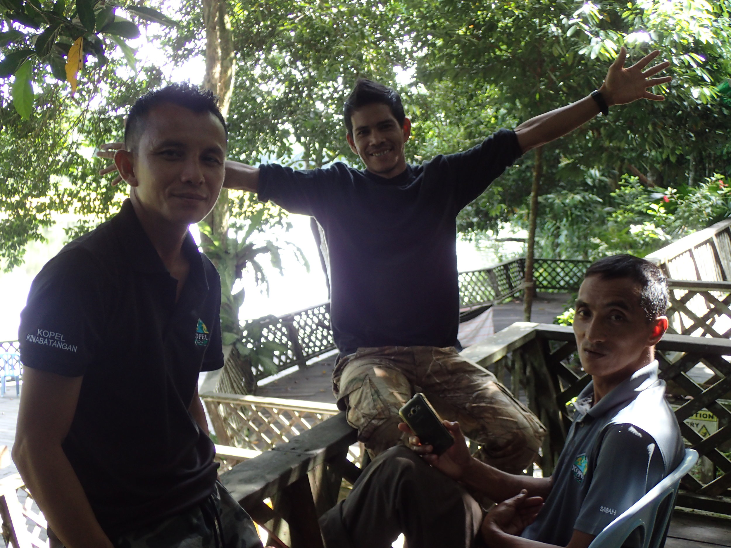 Azman, Budin and Ali at the Eco-camp.