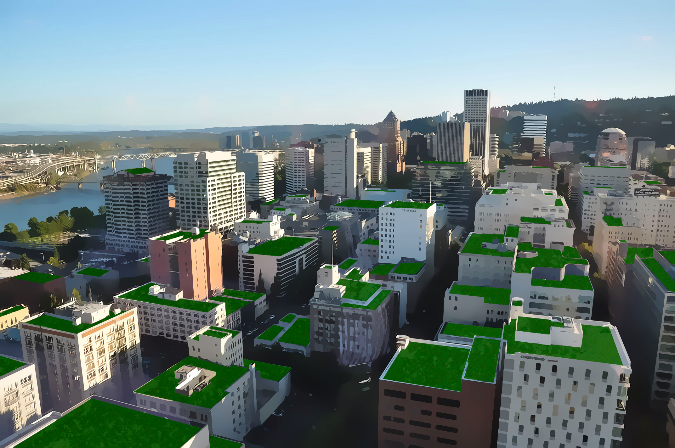 Aerial view of Portland with photo-shopped eco-roof [museumofthecity.org]