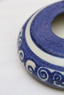 "blues   stoneware with engobe diameter: 8""; height: 3"" 2015   ""cold comfort"""