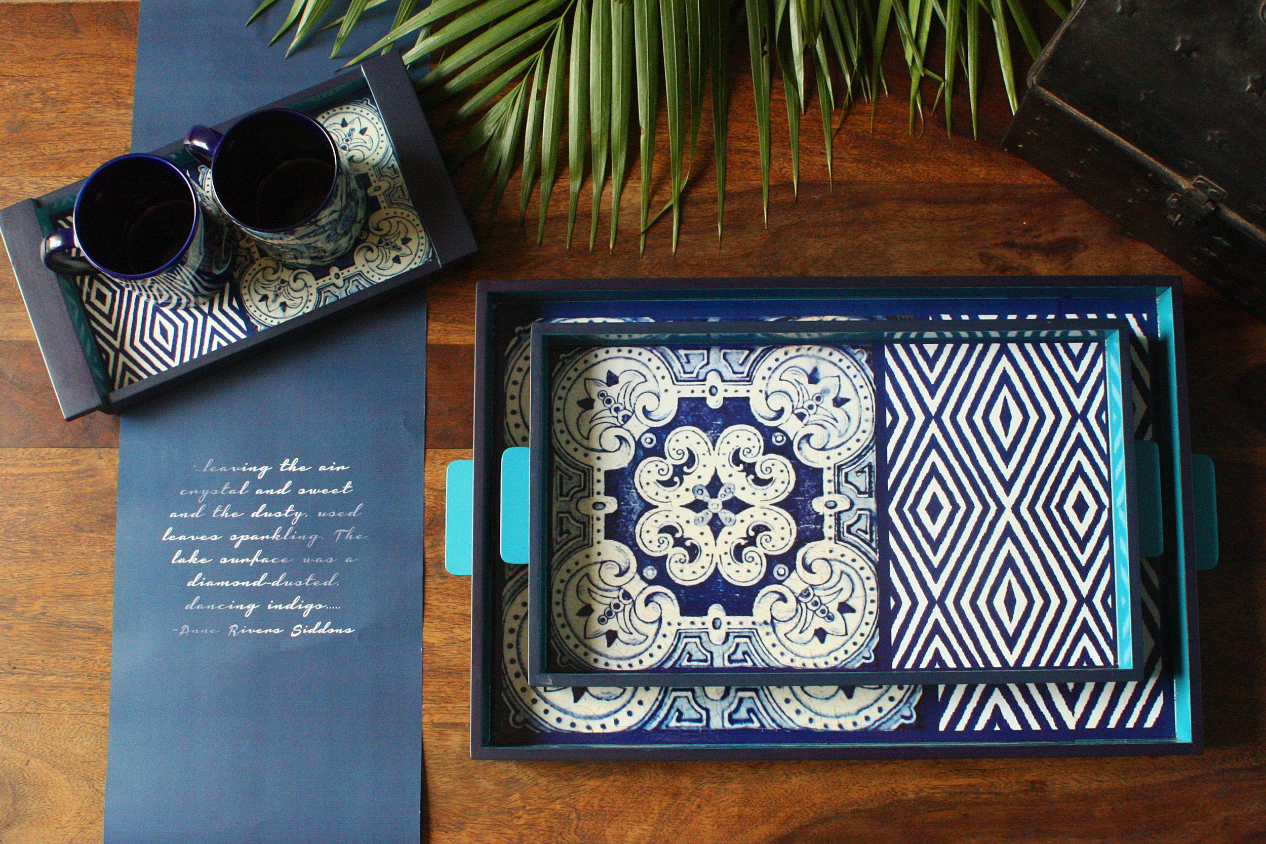 Artnlight Indigo series Trays mugs Moorish Chevron design.jpg