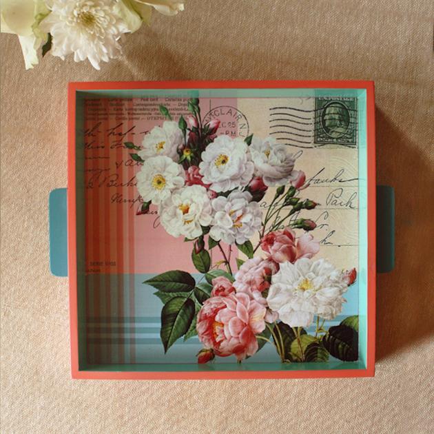 Vintage Postage Rose Tray