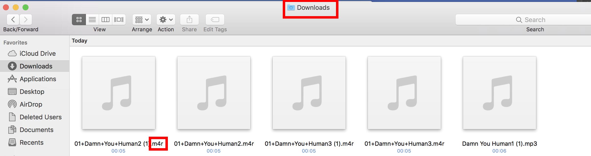 Step 2 Mac - Locate your .m4r File in Downloads folder Step