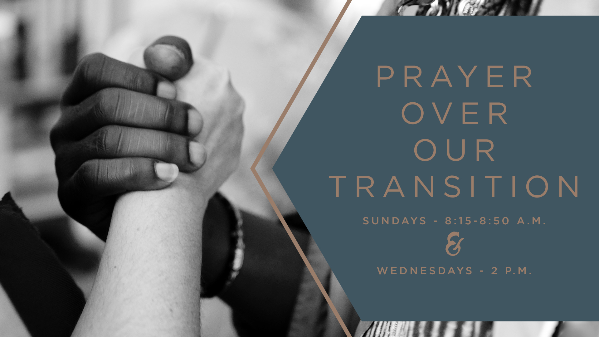 "Prayer over our Transition -  Pray with us as we anticipate the arrival of our Interim Senior Pastor, Dr. Mark Brewer, in August. The prayer team invites you to renew your efforts in prayer for the future of our church. Please pray for the energy and endurance of our staff, and for the formation of the Senior Pastor Nominating Committee. May we be open to what new things God is doing in our midst. Isaiah 43:19 proclaims, ""Now I am doing a new thing; do you not perceive it?"" Join in corporate prayer on Sundays from 8:15-8:50 a.m. in the Library and Wednesdays at 2 p.m. for a ""Pause for Prayer"" wherever you are. Questions/Information: Claire Hertzler,  clairehertzler@gmail.com"