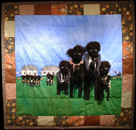 His Eye is on the Sparrow 2004 pieced fabric and quilted fabric 7 ft x 7 ft  This work is a conversation about African-Americans as well as all people faith search for better lives.
