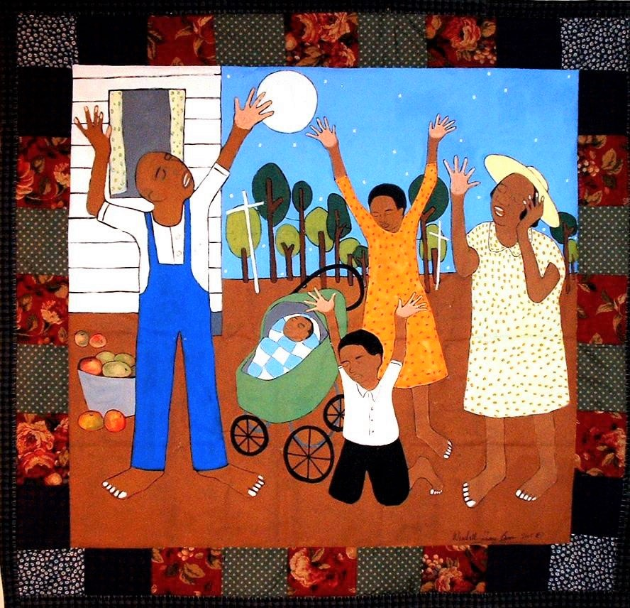The Moon Do Shine 2003 pieced fabric and quilted fabric 7 ft x 7 ft  My aunt told me that at my great-grandfather's funeral attendees sung the song, The Moon Do Shine. I liked the story and painted this quilt for a solo exhibition honoring the works of artist William H Johnson.