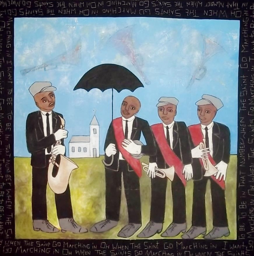 Before the Band Playing 2008 pieced fabric and quilted fabric 6 ft x 6 ft  This work teaches viewers about the New Orleans Jazz Funeral, which is a band playing celebration of a person's life as much as a mourning of his or her death.