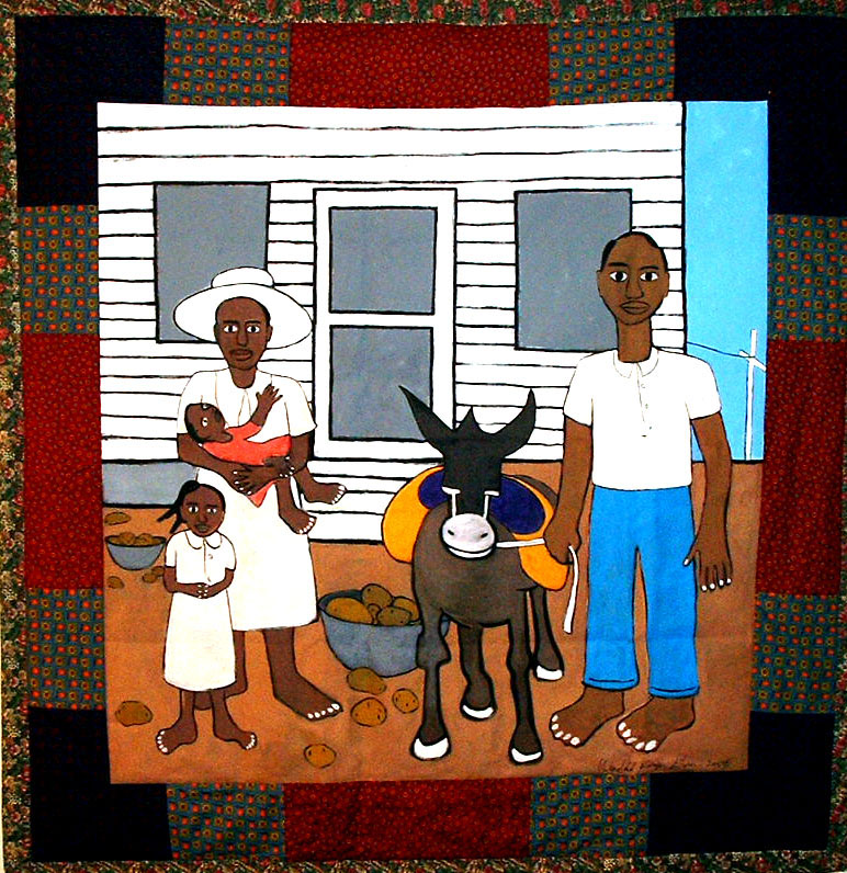 Sunday Morning: Ode to W H J  2004 pieced fabric and quilted fabric 6 ft x 6 ft  This work was created for an exhibition honoring the works of artist William H. Johnson.