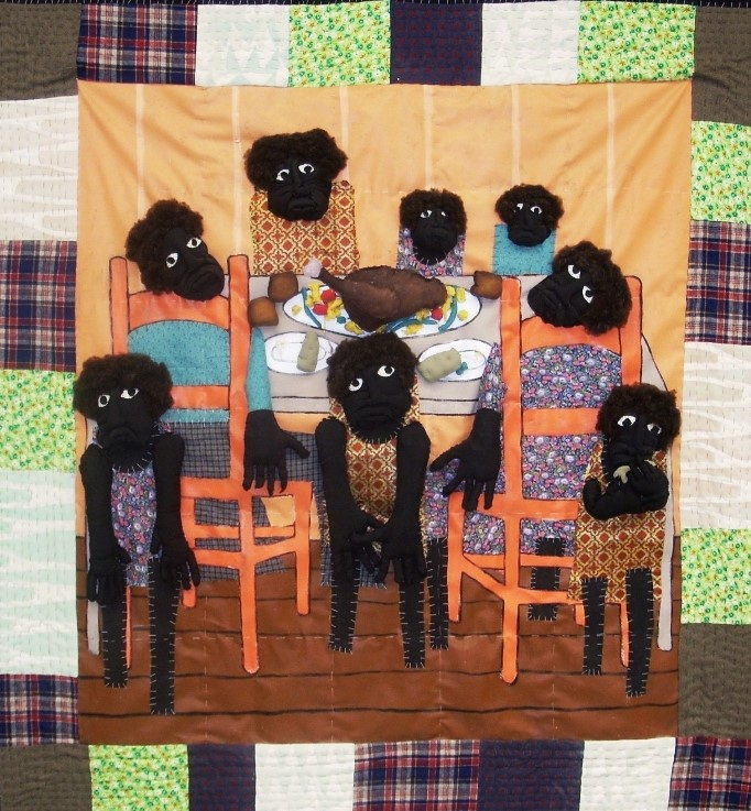 Thy Thankful Poor  2004 pieced fabric and quilted fabric 6 ft x 6 ft  Inspired by ghoulish African Mask and figure stylization , this work is my interpretation of artist, Henry O. Tanner's painting Thy Thankful poor.