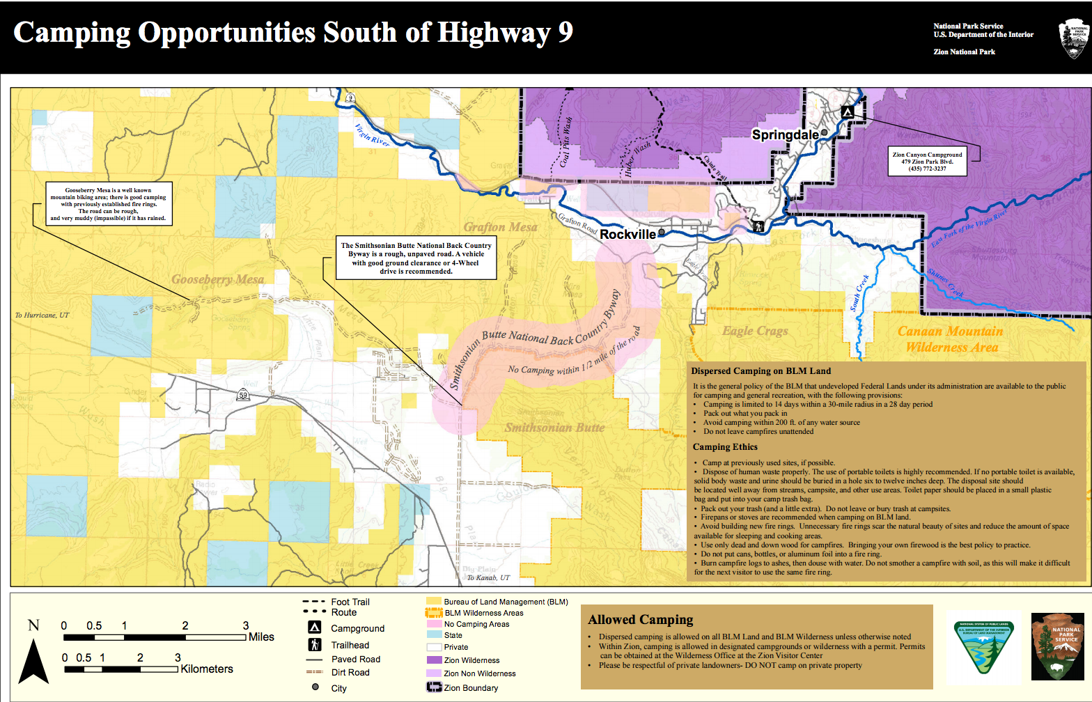 Sample BLM Map near Zion National Park, Utah