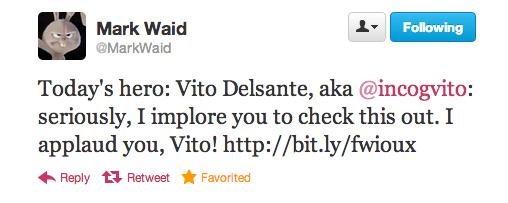 Tweet from Mark Waid