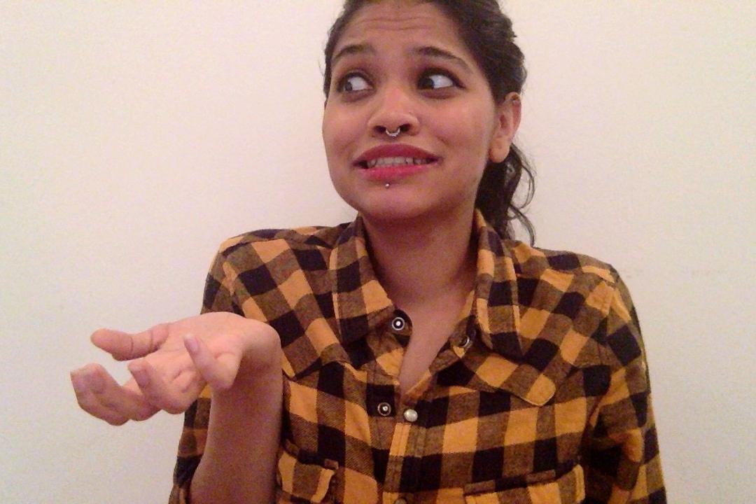Sandhya Ramachandran  circa Oct 2017. She sports a septum ring & now rocks basic flannels.