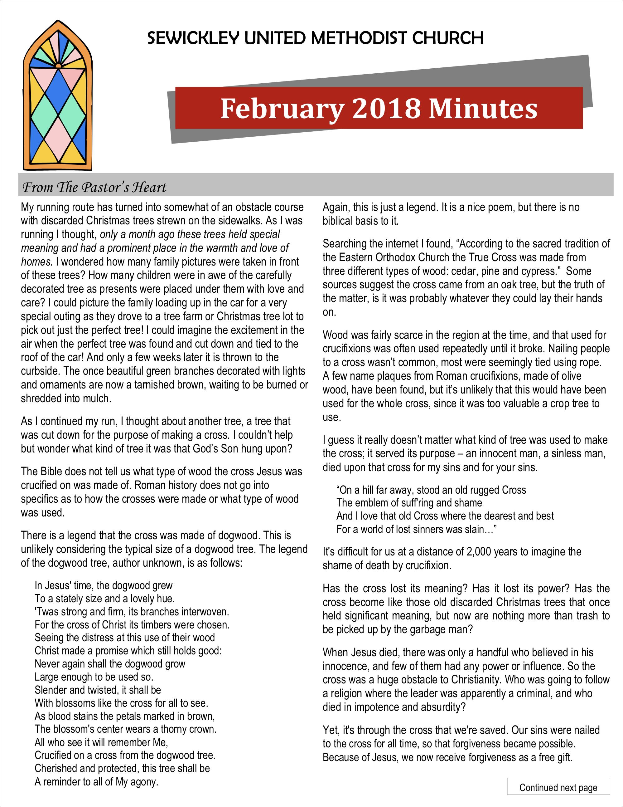 February 2018 Minutes