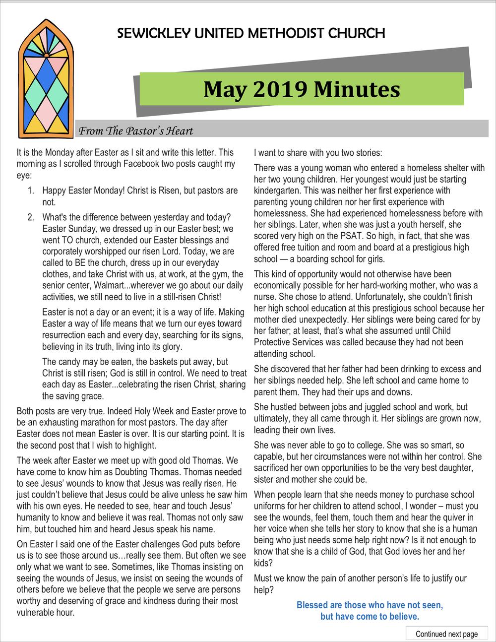 May 2019 Minutes