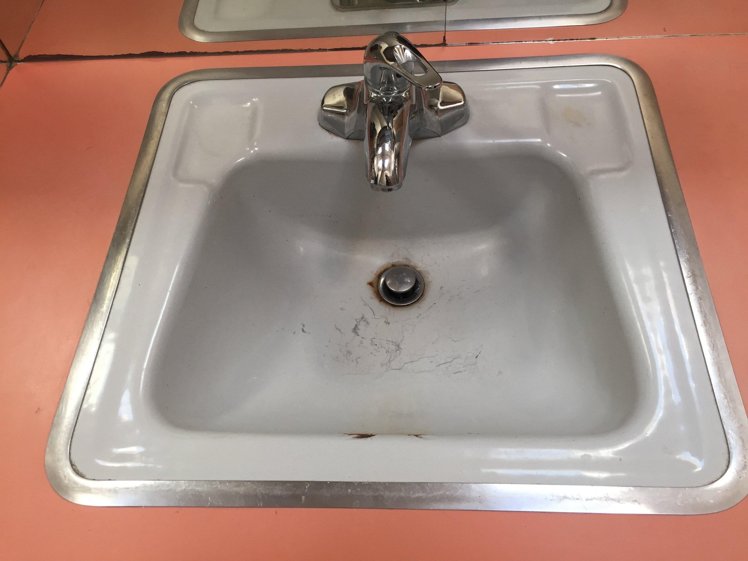 The original blue sink. The bathroom had a matching tub.