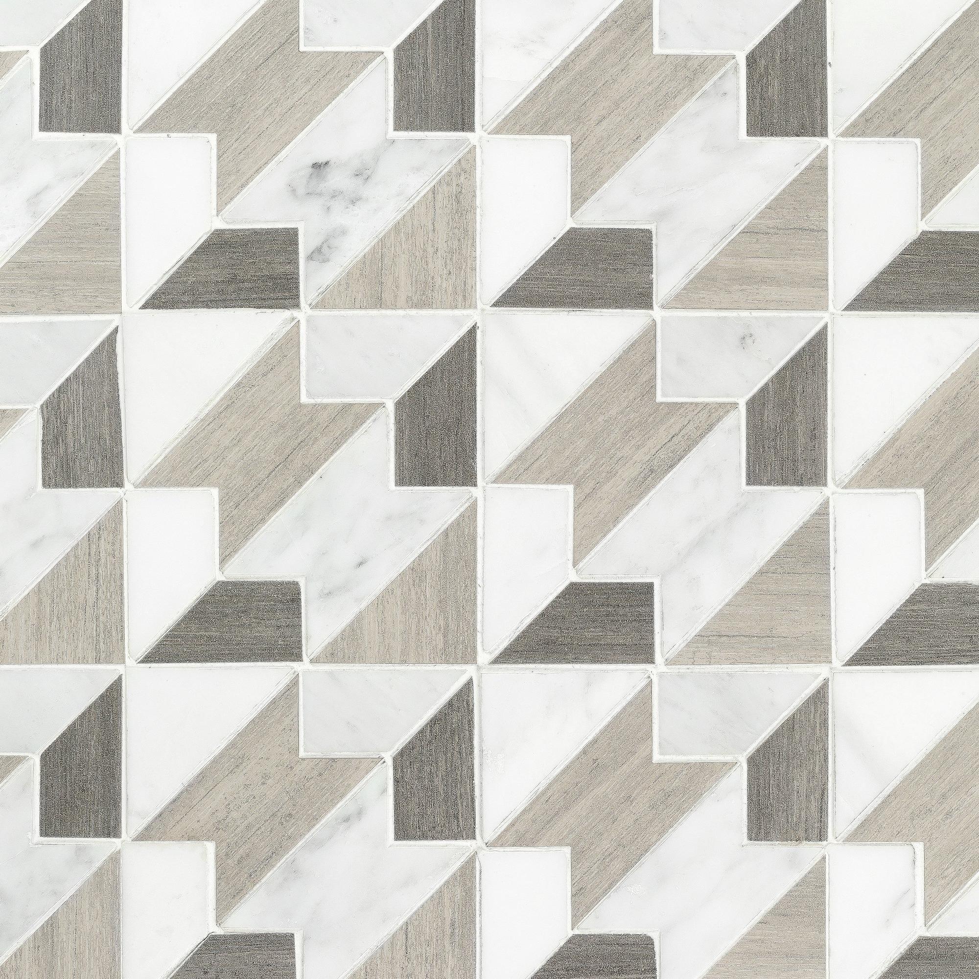 Floor & Decor | Viviano Marmo Houndstooth Carrara Blend Marble Mosaic