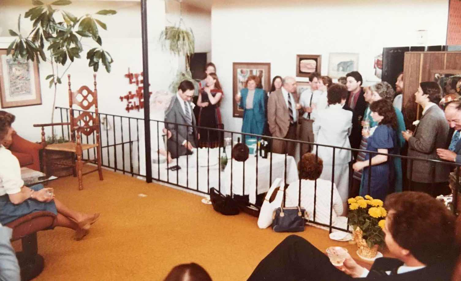 When the Pattersons moved the staircase to the center of the living room, they removed the original railing, seen here.