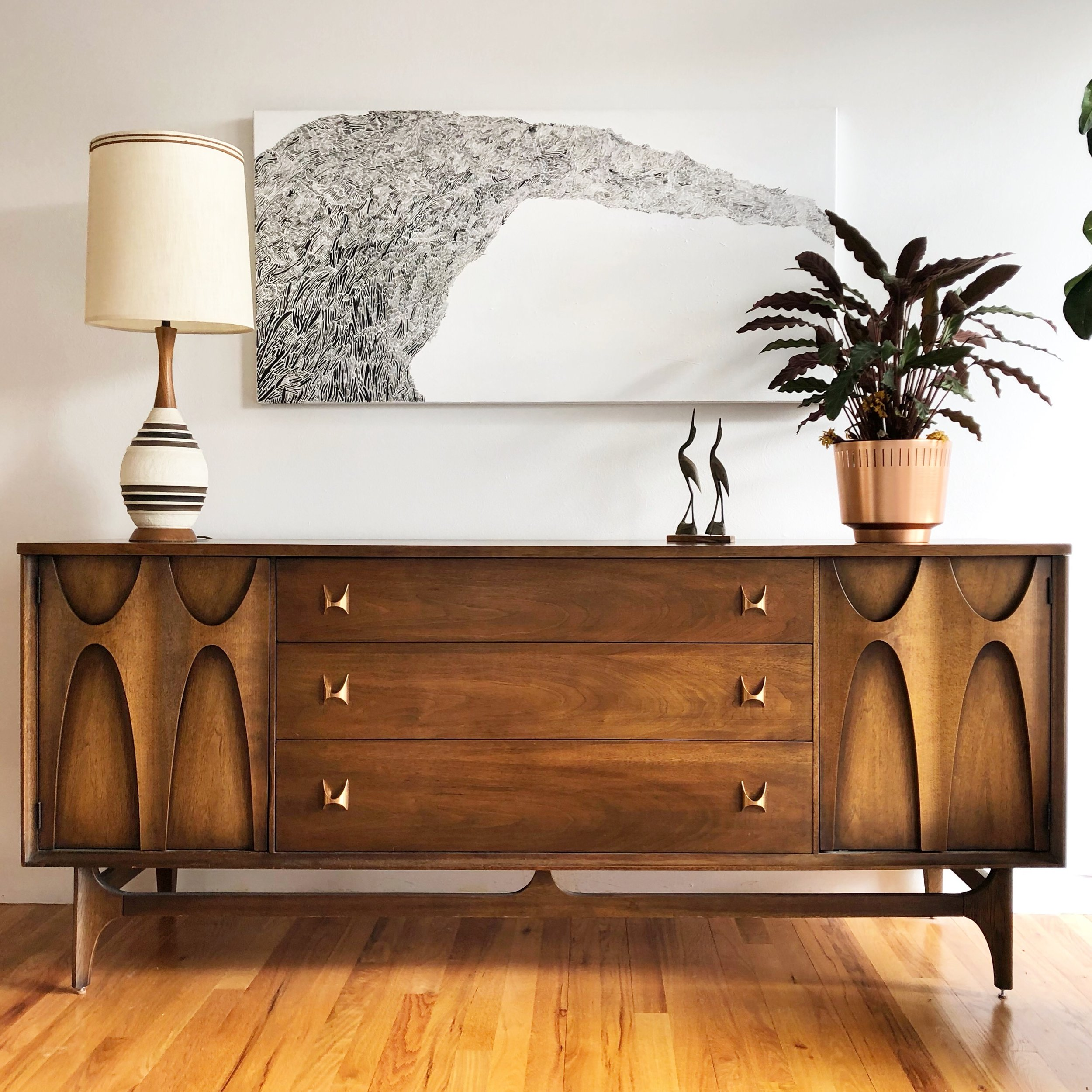 Broyhill Brasilia dresser and vintage lamp sourced from  Mid-Century Mike