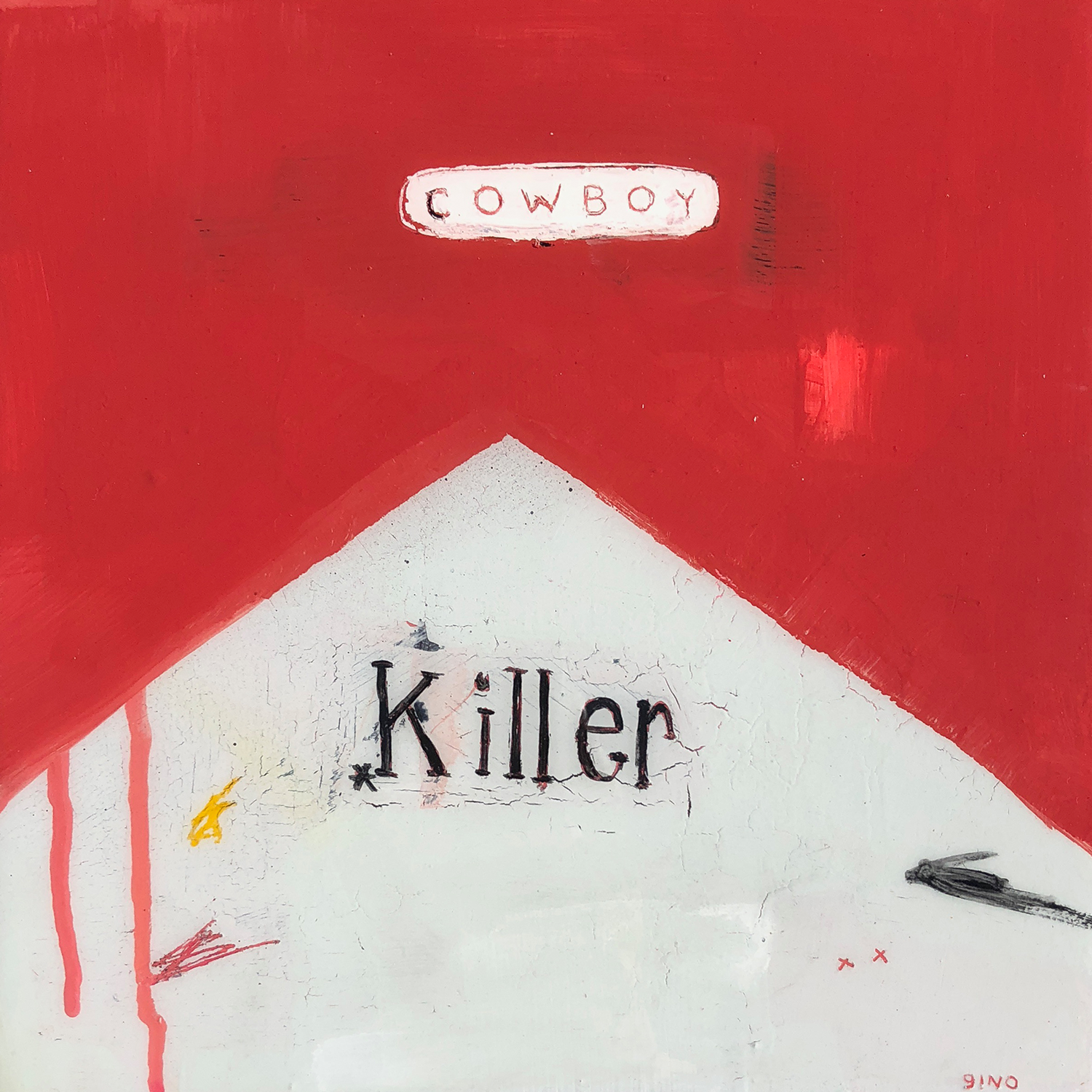 cowboy killer acrylic + pastel + resin / wood panel 10 x 10 in. 2018