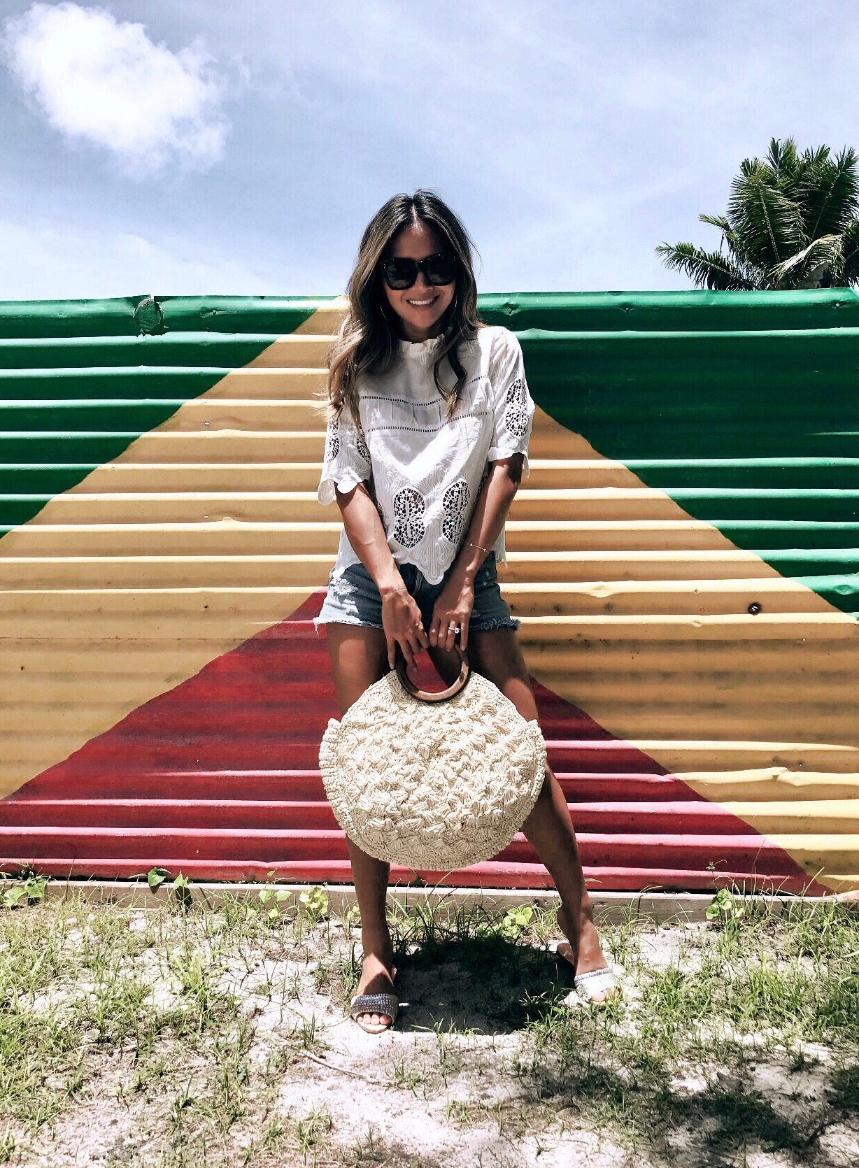 Randomly found this Jamaican inspired wall and had to take a pic.  This was one of the most hectic wedding planning days of all.  Glad I wore easy clothes because it was super hot!