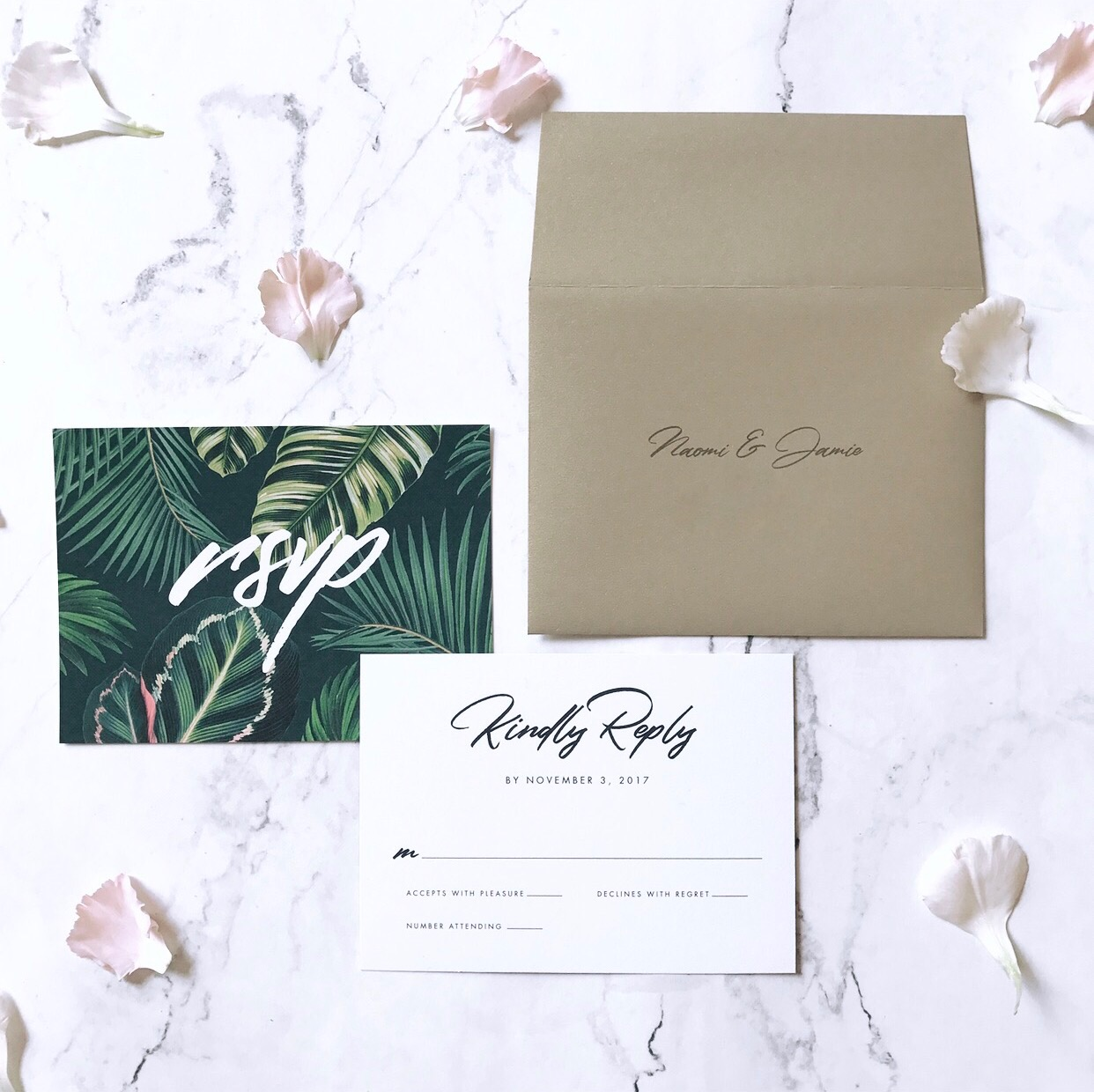 rsvp card front and back