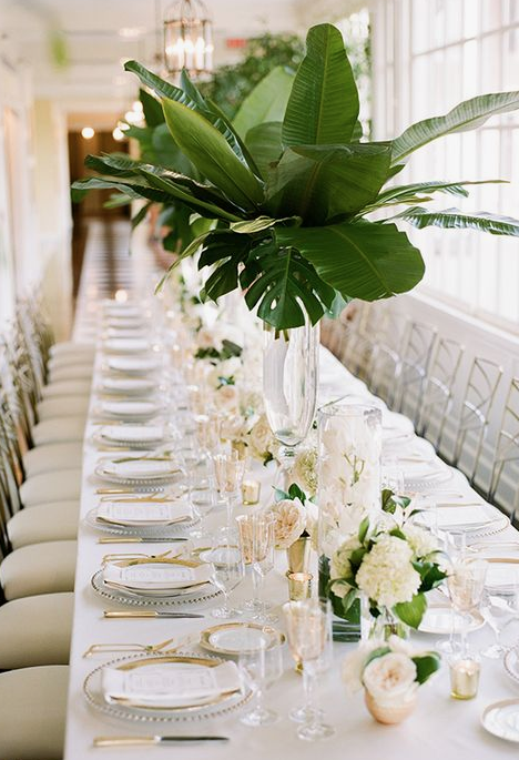 Greenery is an important touch for me since I am from an island and since the wedding is taking place on an island.  Via Pinterest.