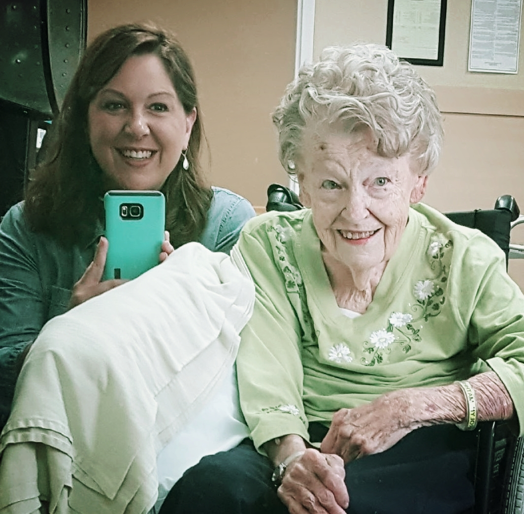 We treat our older clients like family because that's how I want people to treat my loved ones. Pictured: Chief Casserole Queen Jess and her 92 year-old grandmother.