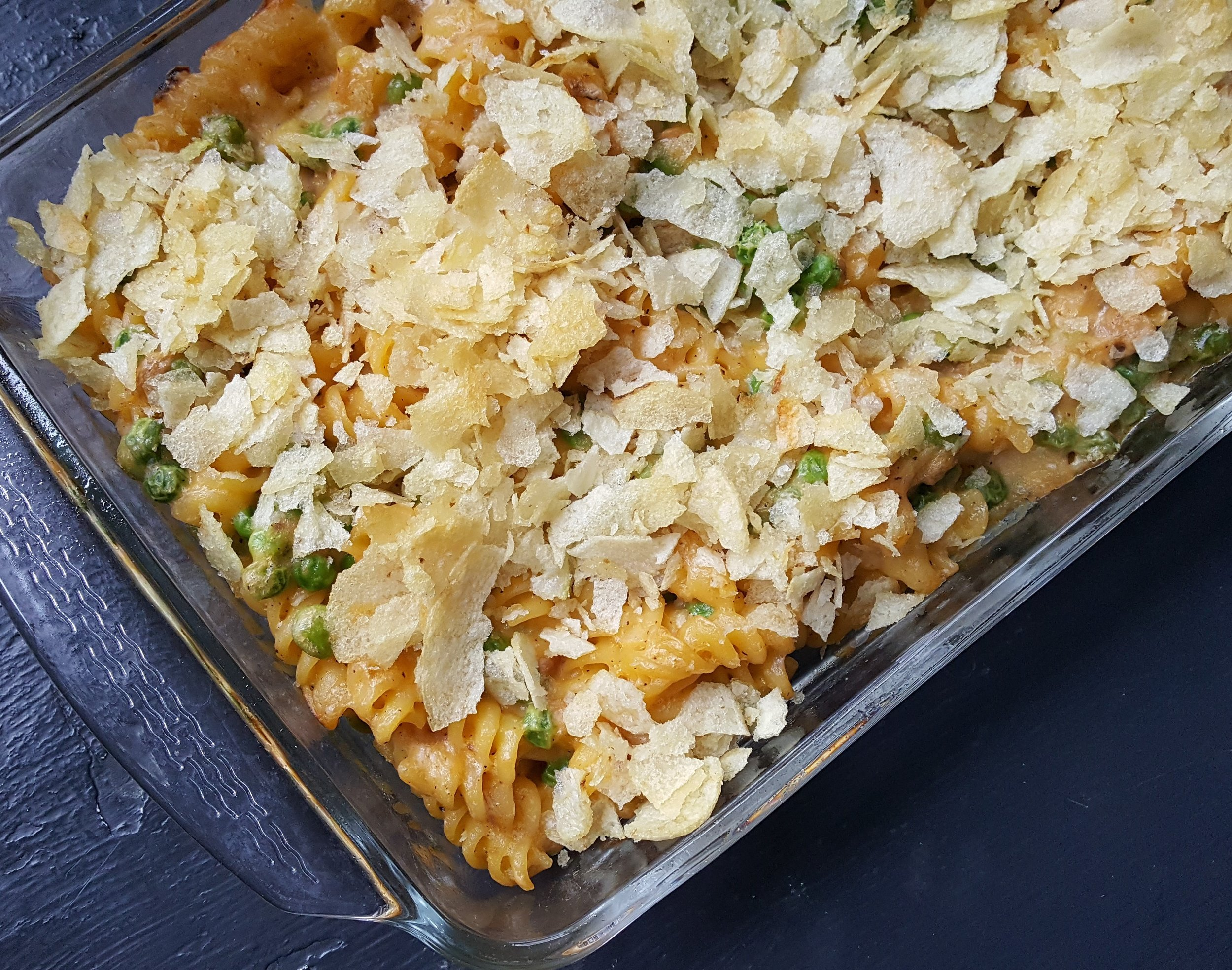Potato-chip topped Tuna Casserole is a comfort food classic. Crushed butter crackers (such as Ritz)also work.
