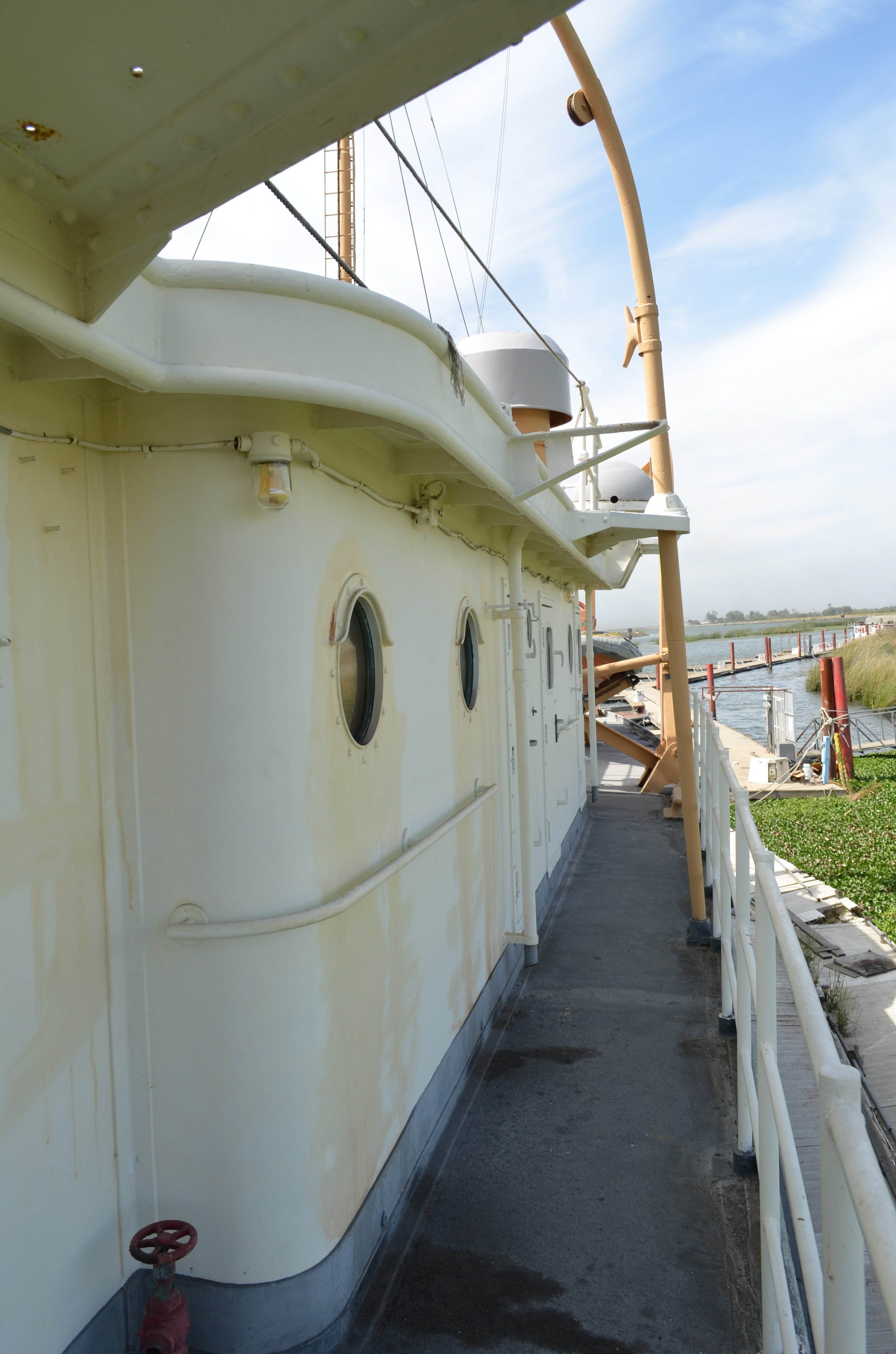 Starboard passage on the 02 deck. Looking aft. Spring 2017. Doors lead to individual staterooms.