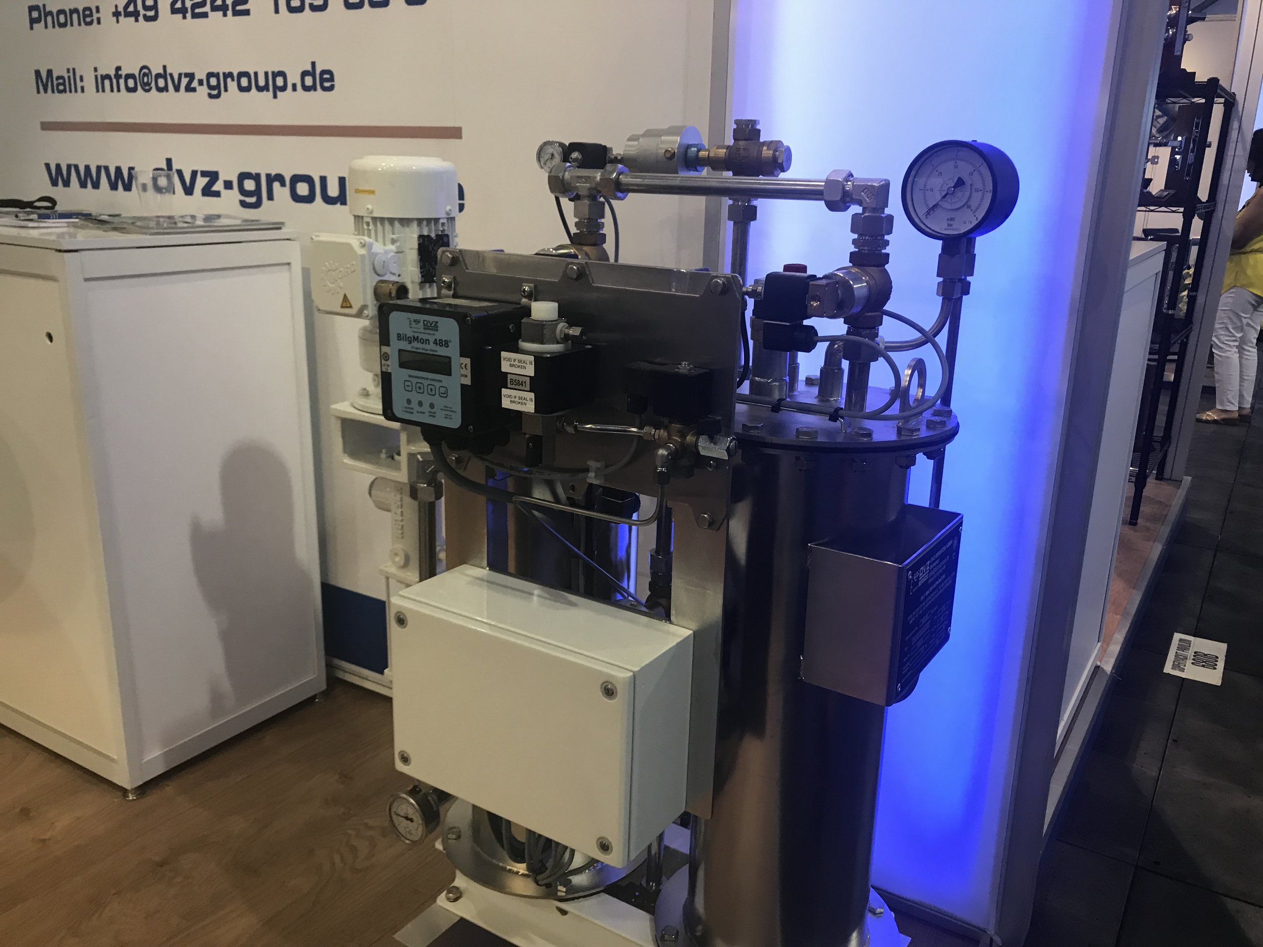 The smallest oily water separator produced by DVZ Group. Pictured at the 2017 Ft. Lauderdale Boat Show.