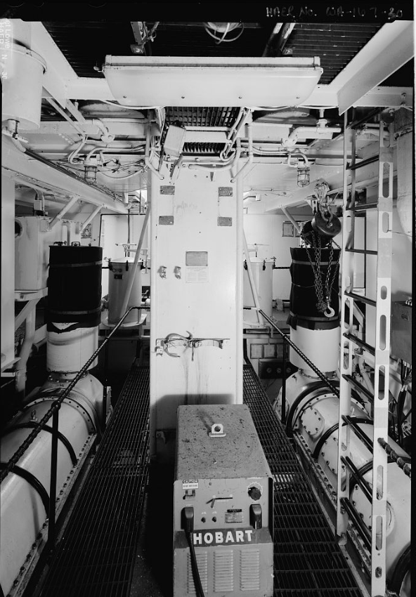 Engine room from galley level, looking aft.