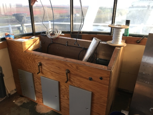 "The ""Blue Water"" console to the port side of the Wheelhouse. January 2018"