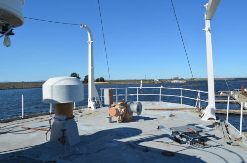 Boat deck February 2018. Tenders have been removed. Cradles for the boats relocated to foredeck. Gantries welded in place and their operating mechanism removed.