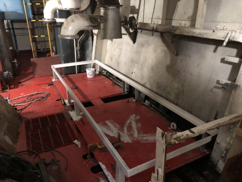 This sled added to the engine room will house the boiler for domestic hot water and heating and the chiller block.