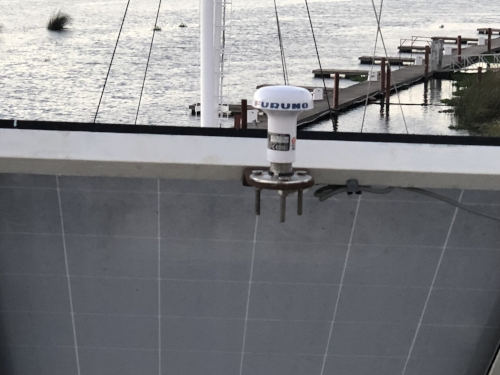 The Furuno 170A has an independent GPS antenna. We chose to mount the antenna between the A-Frame supports and just above the solar panels. In the (hopefully) unlikely event that we encounter a bridge or storm that strips off our primary GPS antenna, this antenna should survive as backup. Also worth noting is that we ran the wiring outside the mast bundle which adds to the independence of this system.