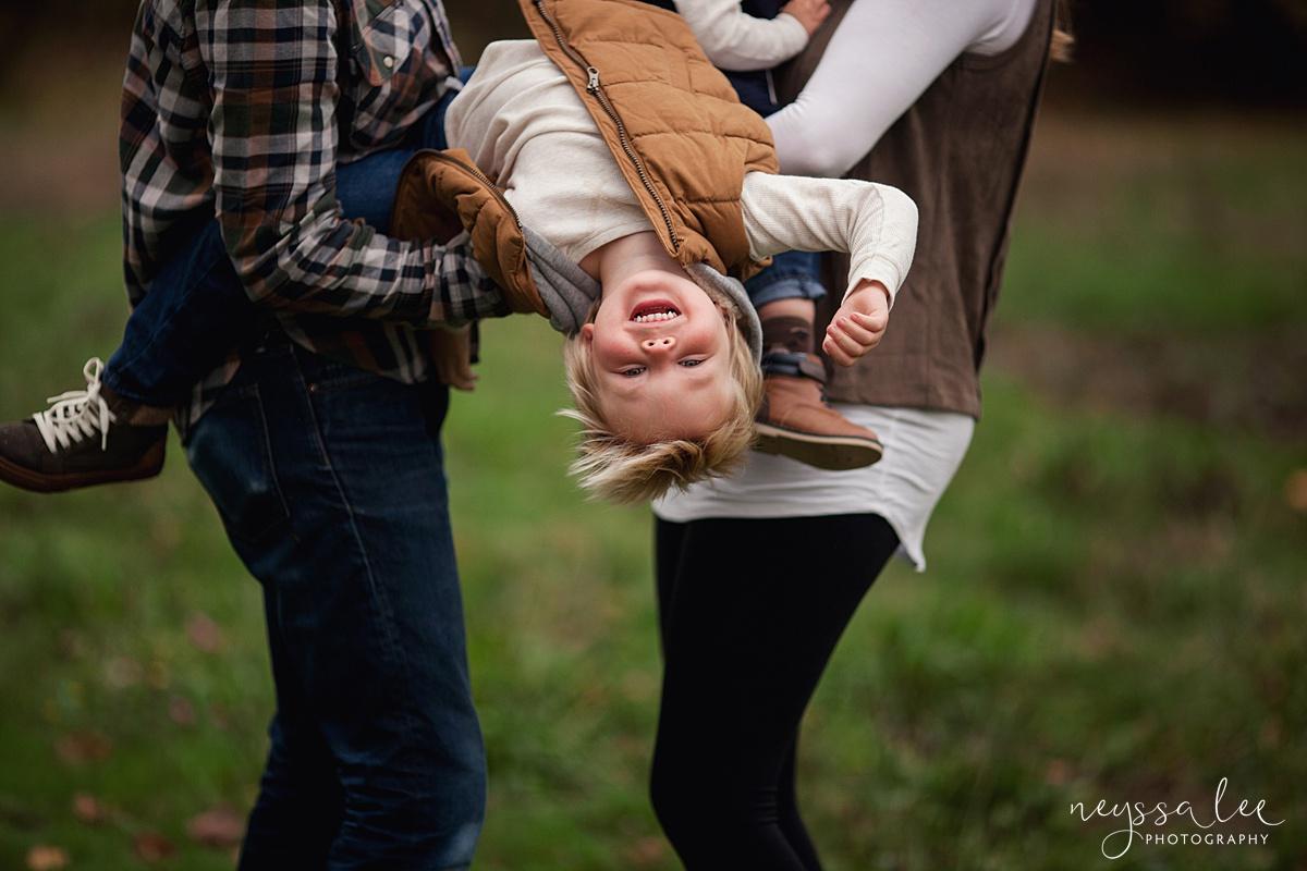 Neyssa Lee Photography, Snoqualmie Family Photographer, Fall Family Photos, Toddler Boy Upside Down