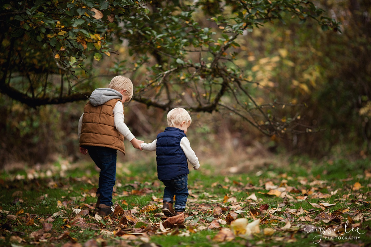 Neyssa Lee Photography, Snoqualmie Family Photographer, Fall Family Photos, brothers holding hands