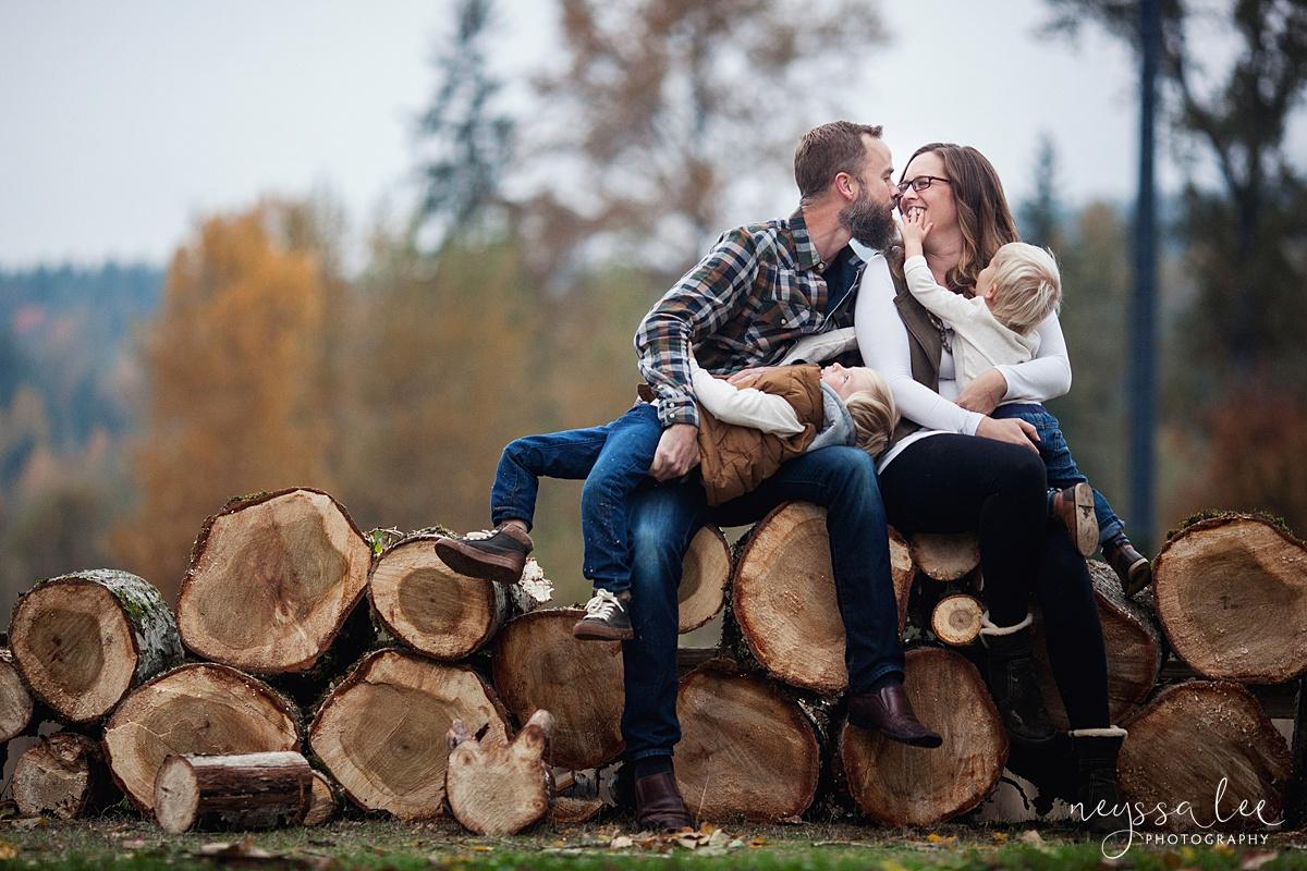 Neyssa Lee Photography, Snoqualmie Family Photographer, Fall Family Photos, Lifestyle Family photo on woodpile